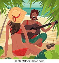 Guy playing the guitar for a girl on the beach