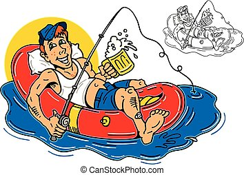 guy rafting - guy fishing and drinking beer on an inflatable...