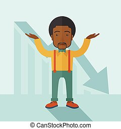 Guy raising his arms with arrow down graph.