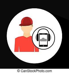 guy red cap smartphone headphones music online vector...