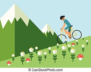 Guy riding a bike in mountain landscape, vector