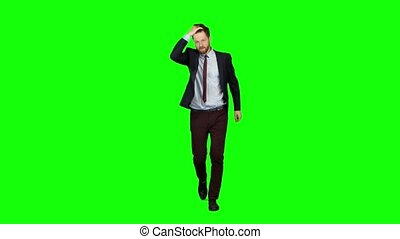 Guy runs around waving to others who meet him on the way. Green screen