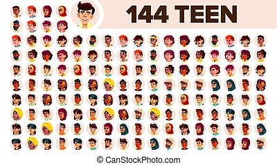guy., set, persone, maschio, female., asiatico, ethnic., adolescente, vector., multinazionale, appartamento, illustrazione, portrait., utente, arab., multi, europeo, faccia, ragazza, africano, avatar, icon., racial., emotions.