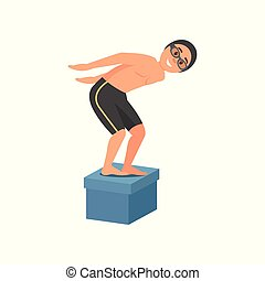 Guy standing on starting block at swimming pool and ready to jump. Young man in swimwear, googles and silicone cap. Flat vector design