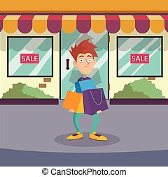 Guy standing on street near entrance to store. Cartoon male character with shocked face expression with lots of shopping bags. Clearance sale. Boutique facade. Flat vector