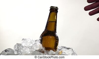 Guy takes a bottle of cold beer. White background . Close up. Slow motion