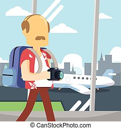 guy travel on airport
