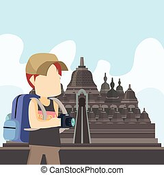 guy traveller in borobudur temple