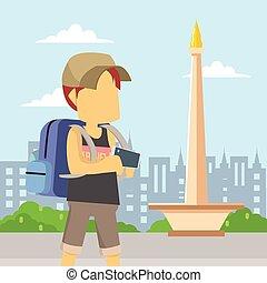 guy traveller in jakarta