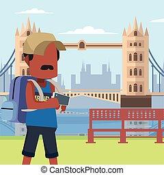 guy traveller in tower bridge
