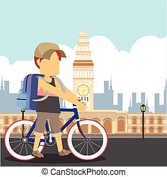guy traveller with a bike