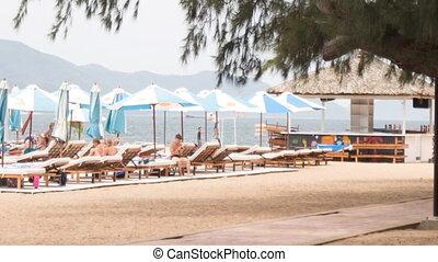 guy walks speaks on phone on beach against sunbeds umbrellas