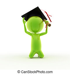 guy who just graduated - 3d rendered illustration of a guy...