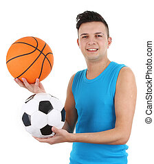 Guy with a basketball and a football