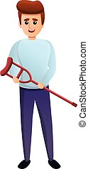 Guy with a crutch in his hands icon, cartoon style