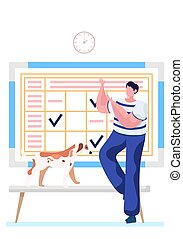 Guy with a dog having fun in line to the veterinarian doctor. Schedule with notes on background