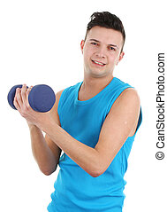 Guy with a dumbell, isolated on white