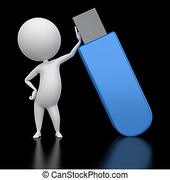 guy with a flash usb - 3d rendered illustration of a guy...