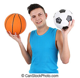 Guy with a football and a basketball