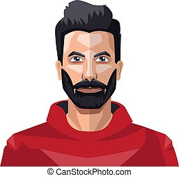 Guy with a full beard in the red shirt illustration vector on white background