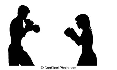 Guy with a girl preparing for a kickboxing competition....