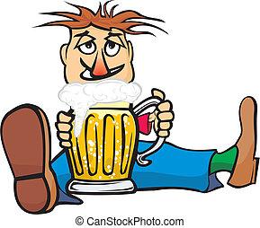 golden pint of beer and drunk man