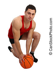 guy with basketball on the floor