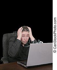 guy with broken computer
