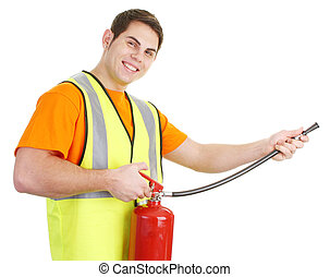Guy with fire extinguisher