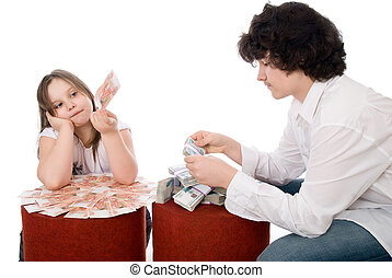 guy with girl consider a lot of money