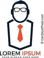Guy with Glasses and tie vector design.