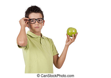 guy with green apple