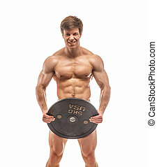Guy with naked torso and weights