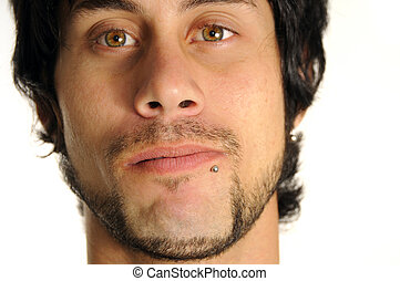 Guy with piercing - Portrait of young latino man with face...