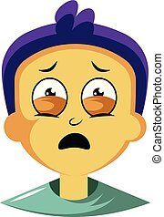 Guy with purple hair is feeling emotional illustration vector on white background