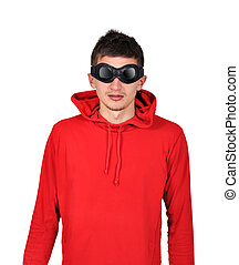 guy with red hoodie