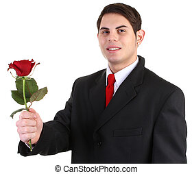 guy with red rose