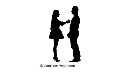 Guy with the girl swear and then they hug. Silhouette. White background