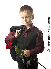 Guy with the red rose.