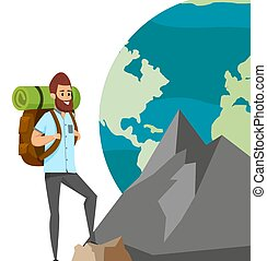 Guy with tourist backpack is climbing mountain. Rock climber on background of planet Earth