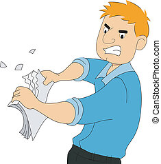 Illustration of a boy writer tearing pieces of paper