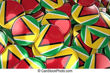 Guyana Badges Background - Pile of Guyanese Flag Buttons.