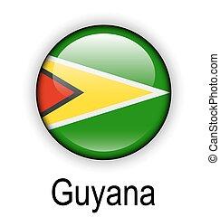 guyana ball flag - guyana official flag, button ball