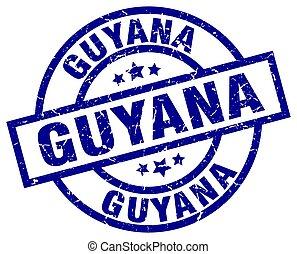 Guyana blue round grunge stamp