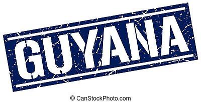 Guyana blue square stamp