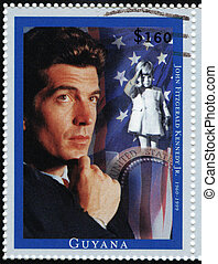 guyana, -, circa, 1999, :, postzegel, bedrukt, in, guyana,...