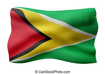 guyana drapeau, 3d