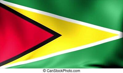 Guyana Flag. Background Seamless Looping Animation.