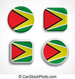 Guyana flag buttons