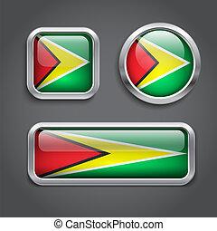 Guyana flag glass buttons